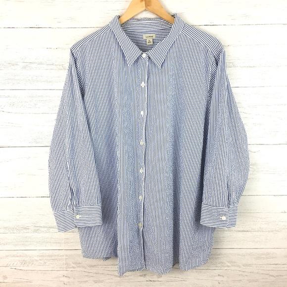 L L Bean Tops Ll Bean Blue White Stripe Seersucker Shirt 3x